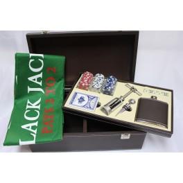 Baúl poker +juego de Vino Simil piel - CONSULTAR PRECIO